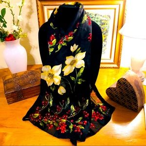 Echo Scarf with Floral Theme on Black